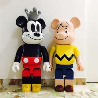 BEARBRICK 1000% MICKEY MOUSE & CHARLIE BROWN