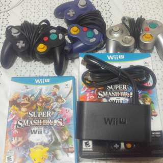 Super Smash Bros Wii U Bundle (Game, Controllers, Adapter)