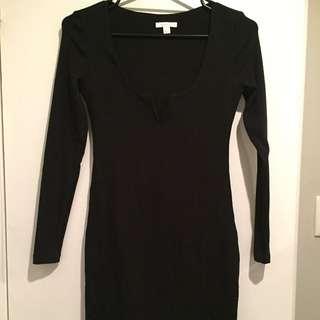 Kookai Black Long Sleeve V Neck Dress Size 2