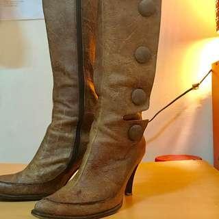 2maa真皮尖頭高筒馬靴