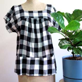 Black & White Checked Boxy Top