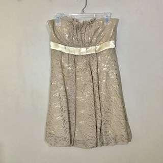 LeChateau Lace Gold/Beige Strapless Dress