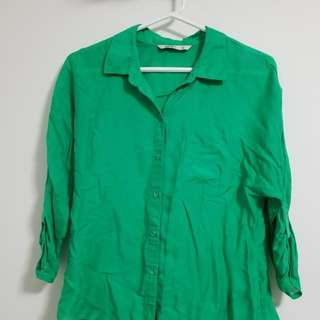 Green Button Up