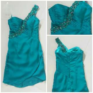 Cocktail Turquoise Mini Dress