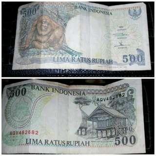 Uang Kertas 500 Th 1992