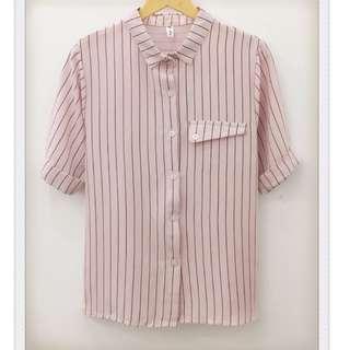 017S149 - 直條紋裝飾口袋直筒寬鬆襯衫