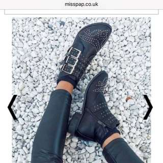 Miss Pap Black Studded Ankle Boots