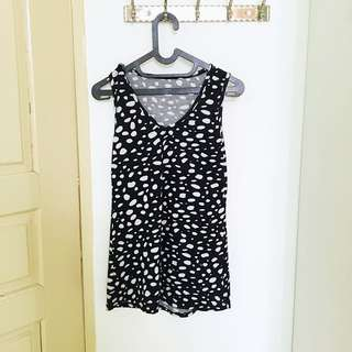 Black and white sleeveless top