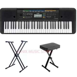 Yamaha PSRE253 Portable Keyboard with Double X Stand and Keyboard Bench (Black)