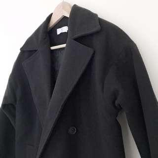 🚚 韓版翻領超長大衣外套 內舖棉加厚