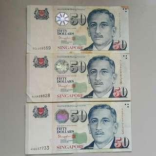 Singapore  $50 Portrait Note
