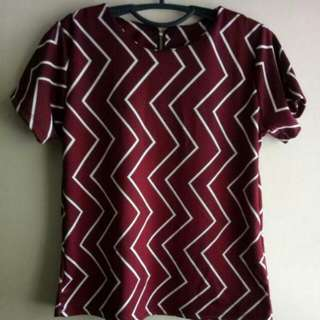 Maroon Blouse with zigzag pattern