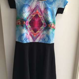 Trippy Geometric Dress W/ Back Cut-outs