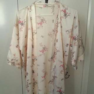 Make An Offer: Satin Asian Robe/Kimono With Cherry Blossoms