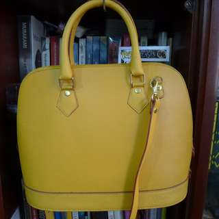 Happy Yellow Faux Leather Hand Bag