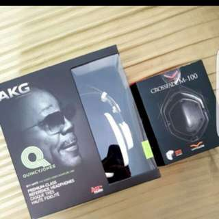 New and sealed AkG Q701 white and Vmoda Crossfade M100 shadow black headset.