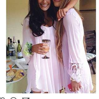 Pastel Pink Shift Dress With Beautiful Details