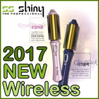 Instock Authentic SS Shiny 2017 Korea Wireless Hair Curling iron / Brush /Hair Straightener