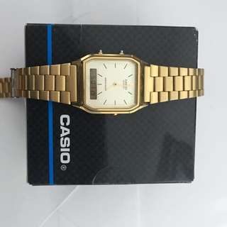 Casio Vintage Digital Analogue Watch Gold