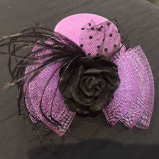 💜🖤 Purple & Black Facinator Mini Top Hat