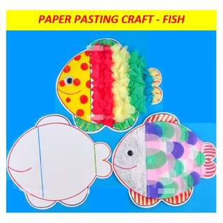 Kids' paper pasting art and craft - Fish designs