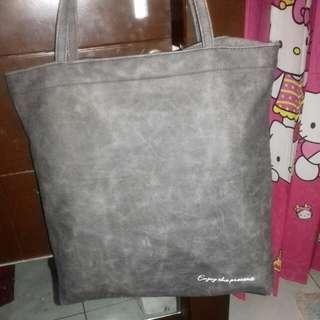 Suede Pocket Tote Bag