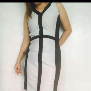 B&W Bandage Dress