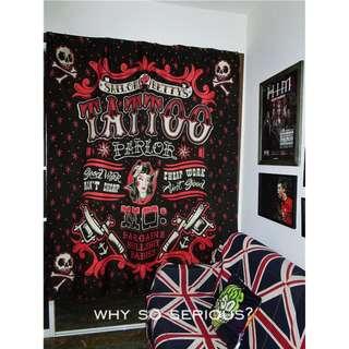 歐美朋克搖滾複古刺青紋身卡通另類浴簾窗簾遮光簾