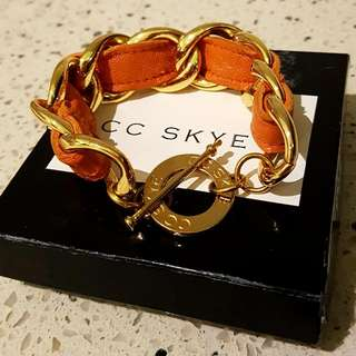 CC SKYE Leather and 24 Karat Gold Plated Bracelet
