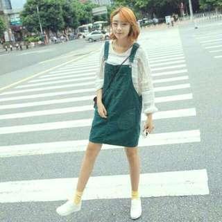 孔雀綠 吊帶裙