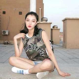 刺繡拼字 迷彩 透氣 女版 運動 籃球背心