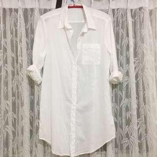 長版襯衫 白襯衫 罩衫 外套 白洋裝