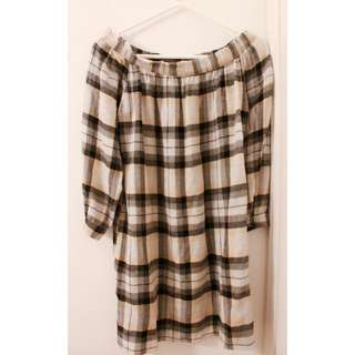 Off The Shoulder Plaid Dress