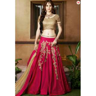 Indian A Line Art Silk Lengha In Pink