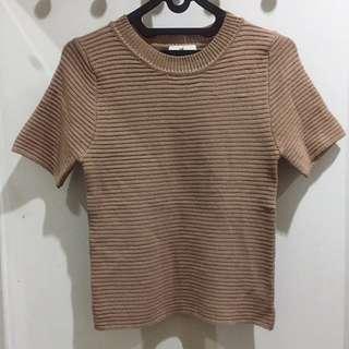Short Sleeve Mocha Knit Top