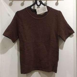 Short Sleeve Dark Brown Knit Top