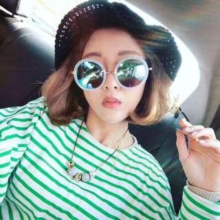 Patty3老闆娘3月韓國連線水藍圓框墨鏡