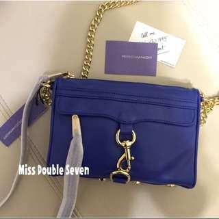 全新Rebecca Minkoff mini Mac#寶藍色金鍊