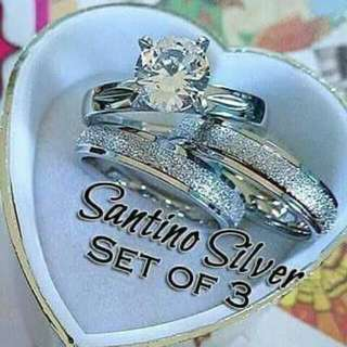 Stainless Steel Couple Ring + Engagement Ring