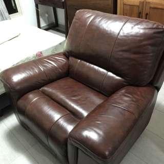 Full Genuine Leather Recliner Rocking Single Sofa