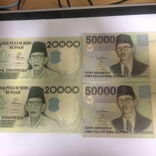 Indonesia Old Notes $50000 & $20000 For Sale