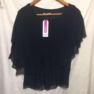 超平 黑色雪紡上衣 短袖衫