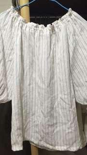 (降價!)直條紋平口/平肩/露肩上衣
