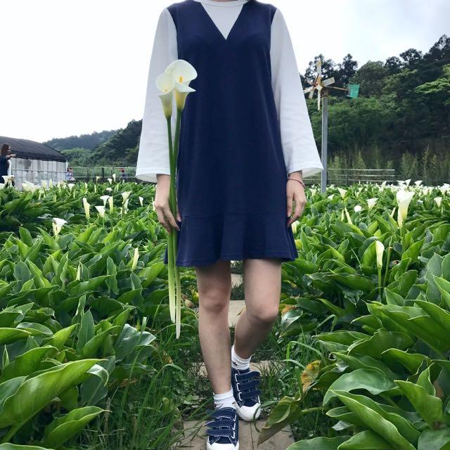 📌假兩件學院風藍白配色魚尾連衣裙
