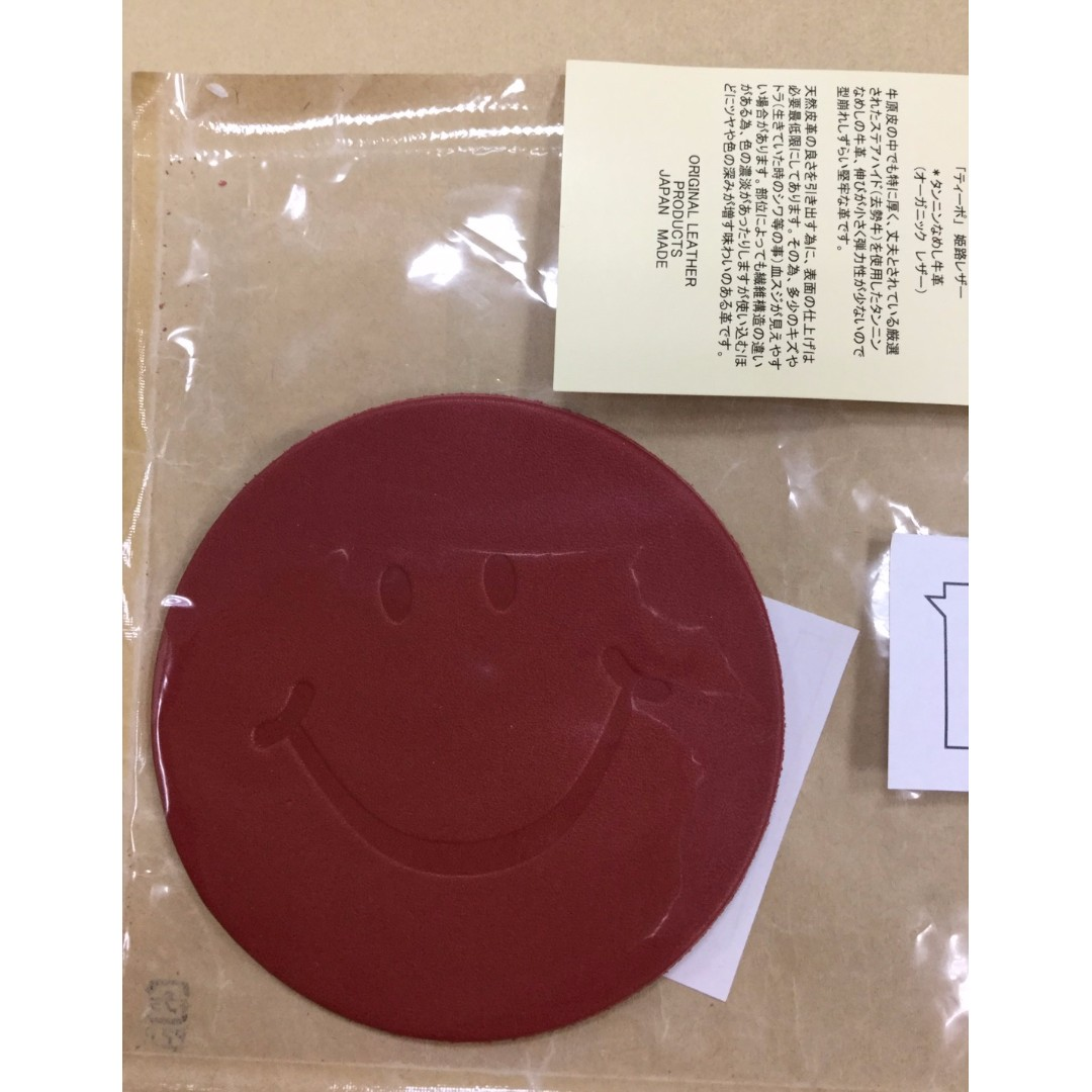 微笑 Smile日本製超可愛笑臉紅色皮革杯墊 擺飾