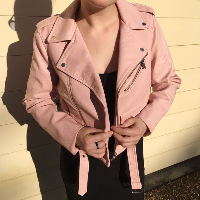Baby pink faux leather biker jacket by Zara size small