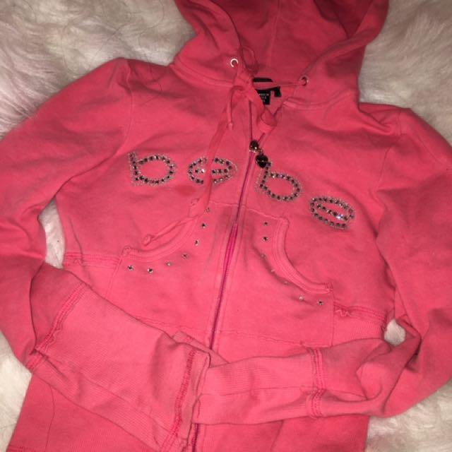 Bebe Cropped Pink Sweater