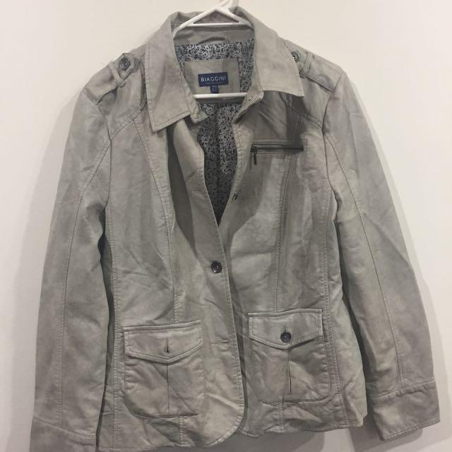 Light Beige Leather Look Jacket