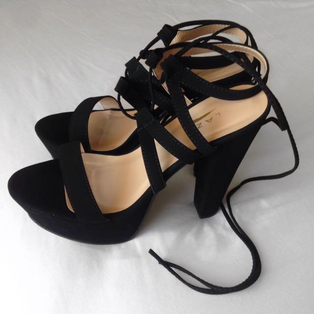 Black Lace-up Heels