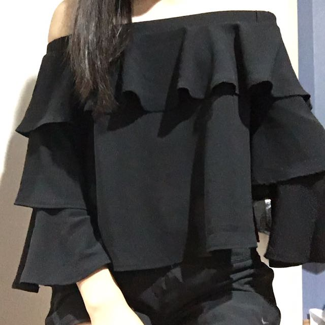 BLACK OFF THE SHOULDER FRILLED TOP #SunriseTV